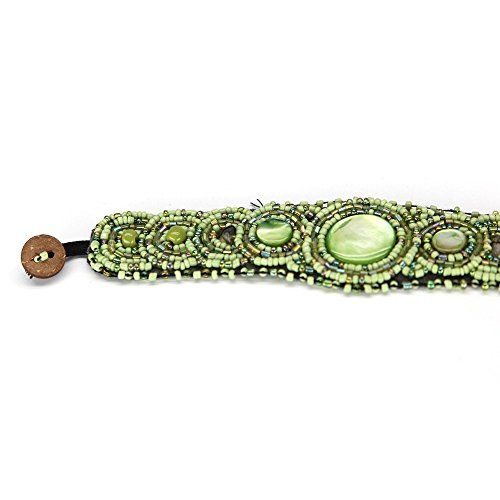 Lime Medallion (Glass bead wood button Fair Trade circle medallion bracelet - handmade - lime green fern)
