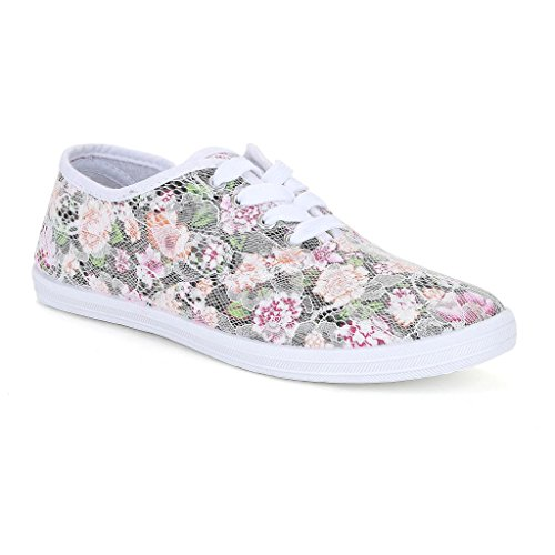 Twisted Women's Tennis Basic Lace Overlay Floral Canvas Lace-Up Sneaker - IVORY, Size 8