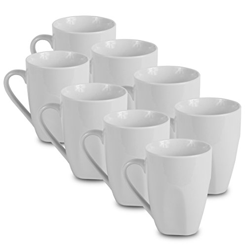 Klikel 8 White Dinner Mugs - 12oz Solid, Flat Bottom - Porcelain Dinnerware