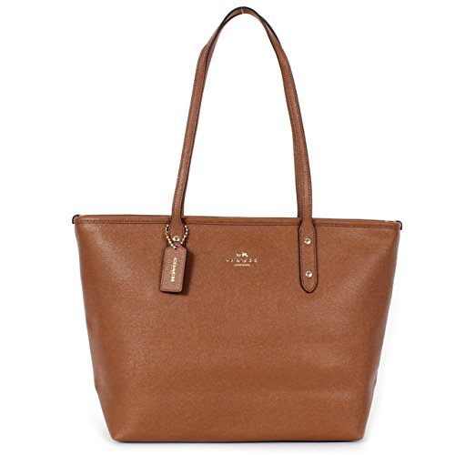 Coach Crossgrain Leather City Zip Tote F58846 Saddle
