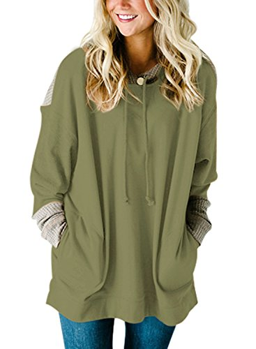 - HOTAPEI Hooded Top Oversized Fit Tunic Long Sleeve T Shirt Pockets Knit Colorblock Blouses Pullover Hoodie Sweatshirts for Women Olive Green Large