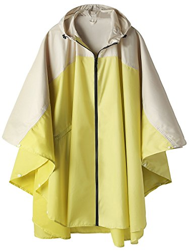 Stylish Unisex Hooded Waterproof Raincoat with Zipper Outdoor Windbreak Rain Jacket Bike Poncho Point Cloak (Yellow) ()
