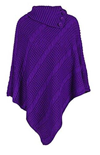 OgLuxe Women Poncho 3 button knit cardigan sweater - PONCHO 3 BUTTON CABLE NET JUMPER CARDIGAN KNITTED (XXL/XXXL (UK 24-26 EU 52-54 US 20-22), Purple)