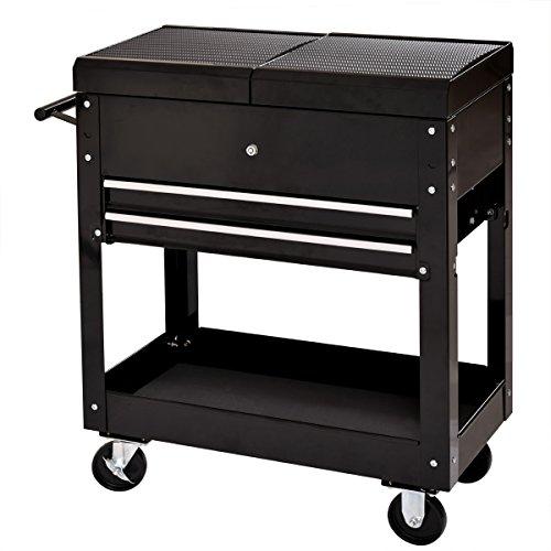 amazoncom jaxpety 27 in 2 drawers 1 shelf mechanic rolling tool cart diy garage black home improvement