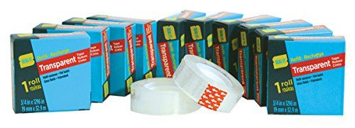 Seal-It Transparent Stationery Tape refill rolls (3/4in x 1296in per pack), Value Pack of 12 (15,552in total) (Pack Stationery)
