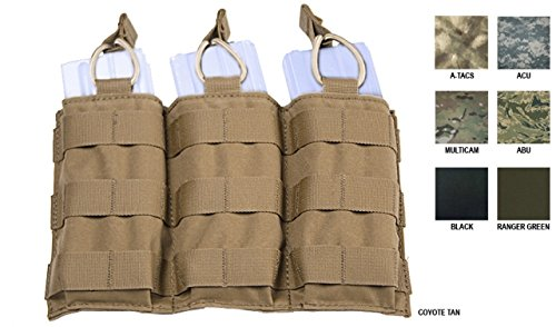 Tactical Assault Gear MOLLE Triple Shingle Pouch w/Bungee, Coyote Tan