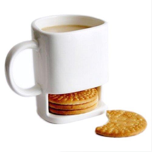 SODIAL(R) 1PC 8.8oz Dunk Mug Ceramic Cookies Mug Cookie Coffee Mug Cup with Biscuit Pocket Holder (Coffee Mug Cookie Holder)