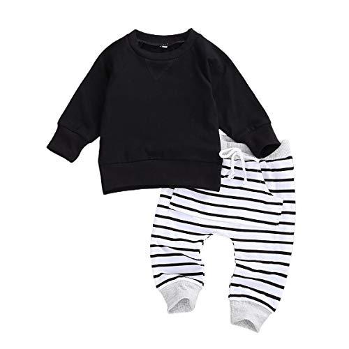 Pasgeboren Baby Jongens Kleding Outfit Effen Lange Mouwen Sweatshirt Tops Gestreepte Broek Pyjama Set