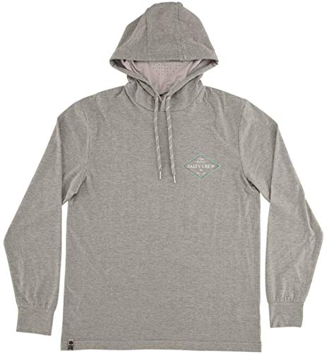 Salty Crew Men's Four Corners Tech Hood with Mask Performance Top (Athletic Heather, Medium)