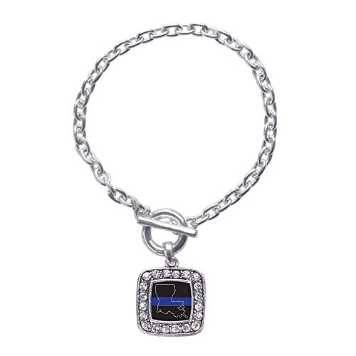 Inspired Silver - Louisiana Thin Blue Line Toggle Charm Bracelet for Women - Silver Square Charm Toggle Bracelet with Cubic Zirconia Jewelry