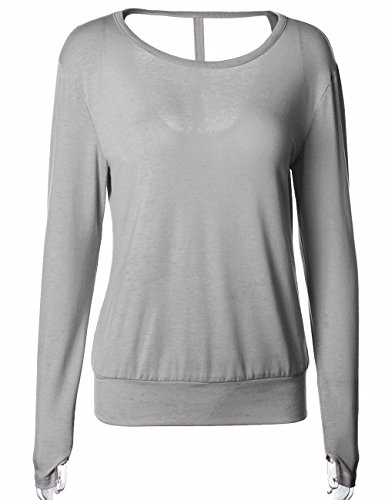 Looseplus - Camiseta de manga larga - para mujer gris