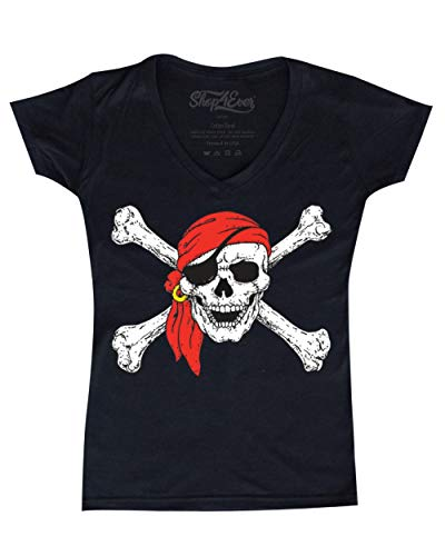 Shop4Ever Pirate Skull & Crossbones Women's V-Neck T-Shirt Pirate Flag Shirts XX-LargeBlack ()