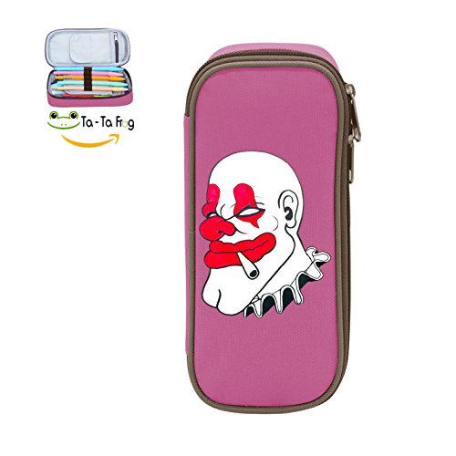 MOPE Cool Clown Face Pencil Case Double Zipper Large Storage Space Mulit-function Stationary Portable Makeup Bag -
