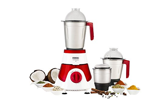 Usha Mixer Grinder (MG-3576) 750-Watt 3 Jars with Full Copper Motor (Red/White)