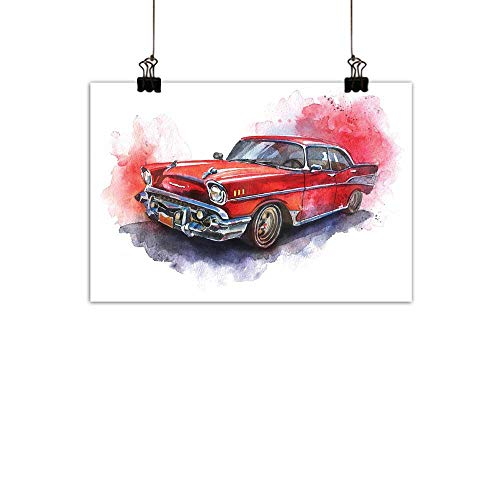 (duommhome Watercolor Modern Oil Paintings Hand Drawn Old Fashioned Car Antique Motor Vehicle Retro Outdated Abstract Art Canvas Wall Art Red Dimgrey)
