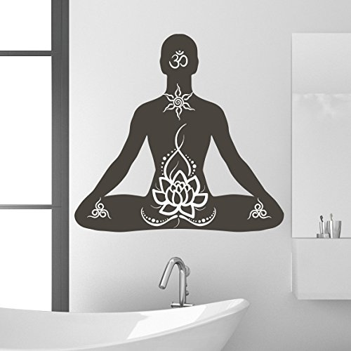Lotus Pose Wall Decal by Style & Apply - Wall Sticker, Vinyl Wall Art, Home Decor, Wall Mural - SA3049-46in x 43in-Silver