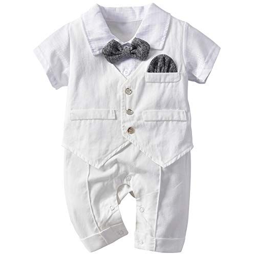Famuka Baby Boy Long Sleeve Gentleman Romper One-Piece Wedding Outfits with Beret (White, 3-6 Months)
