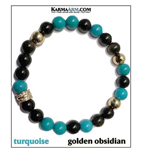 KarmaArm Yoga Meditation Jewelry Reiki Healing Energy Beaded Stretch Bracelets Love Bracelets | Healing: Turquoise | Golden Obsidian | CZ Diamond Pave (6.5)