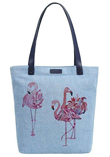 So'each Women's Three Flamingos Denim Dye Handbag Tote Shoulder Shopper Bag Azul