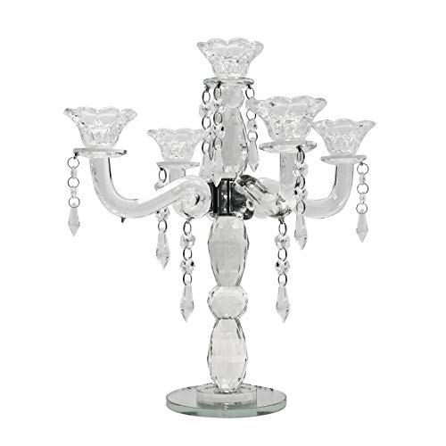 allgala 5-Arm Crystal Candelabra Taper Candlestick Candle Holder