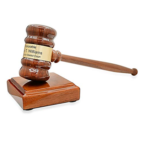 Engraved Gavel and Block Set | Judge's Personalized Gavel Engraved with Custom Message | Judge Gavel in Walnut Wood with Customized Brass Plaque - by Executive Gift Shoppe