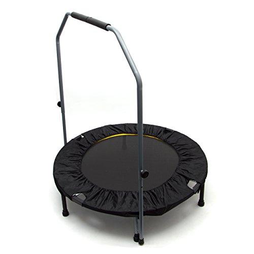 Ocean5 Fitness-Trampolin mit Haltegriff und Randabdeckung, 100 cm Ø, belastbar bis 120 kg, Farbe: schwarz