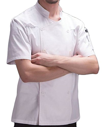 XQS Unisex Kitchen Short Sleeves Uniform Chef Classic Working Coat White XXS