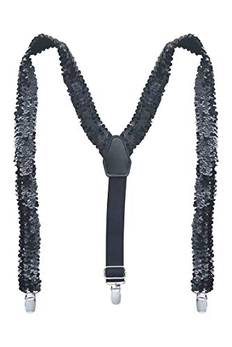 SUNNYTREE Boys' Suspenders Ajustable Y Back with Sequins Black