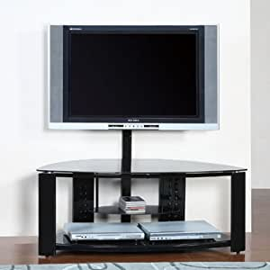 2 Shelf Corner Flat Panel TV STand with Post and Bracket Powell Furniture
