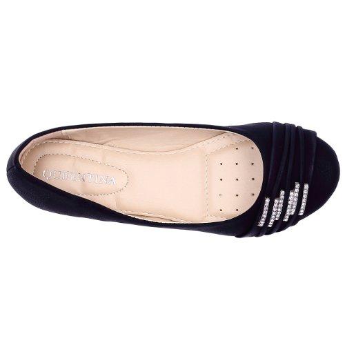 CASPAR Damen Schuhe / Ballerinas mit kleinen Strass-Schnallen SBA004 Schwarz