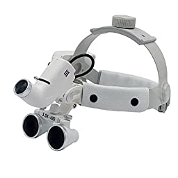 Dental 5W LED Surgical Headlight 3.5X420mm Leather Headband Loupe with Light DY-106 White by Super Elight
