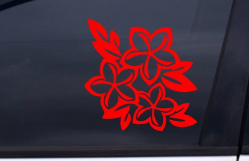 "PLUMERIA Flowers Sticker 5.5""x5.5"" RED Free Shipping"