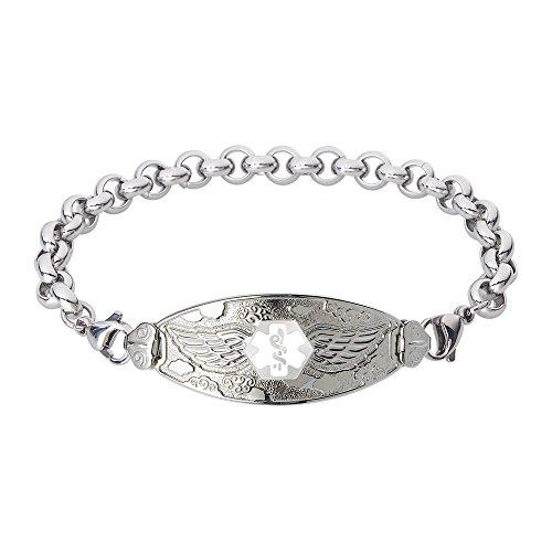 Divoti Custom Engraved Angel Wing Medical Alert Bracelet -Elegant Rolo Stainless -White-8.5'' by Divoti