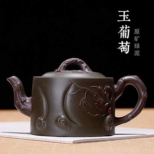 LDYGTeaService Chinese Yixing Zisha Teapot, 360Ml Green Jade Grapes Carving, Handmade Vintage Retro Unique Oriental Original Antique Design Raw Ore Purple Clay Ceramic Tea Pot