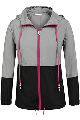 Waterproof Hoodie Windbreaker Black Cremallera Jacket Color Block 's Women wYEqUU