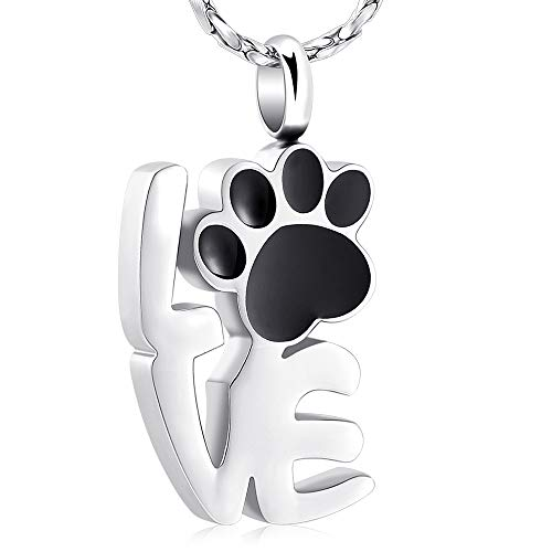 - Imrsanl Paw Print Cremation Jewelry for Ashes Pendant Pet Urn Necklace Memorial Keepsake Jewelry for Pet's Cat Dog Ashes (Silver)