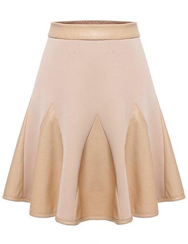 Zeagoo Women's Basic Synthetic Leather skater Patchwork High Waist A-Line Short Flared Godet Skirt,Khaki,Large