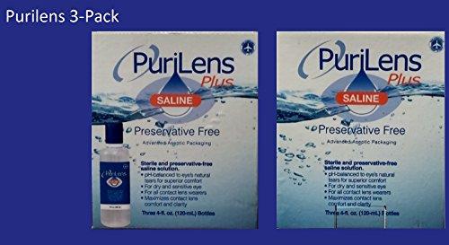 PuriLens Plus Preservative Free Saline Three 4-fl. oz(120-mL) Bottles