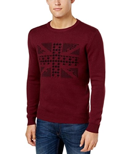 Ben Sherman Men's Union Jack Jacquard Sweater (Wine, XXL)