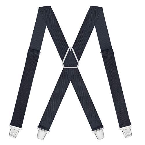 HDE X-Back Suspenders for Men Adjustable Clip-On Elastic Shoulder Strap Braces (Charcoal, 42 inches) -