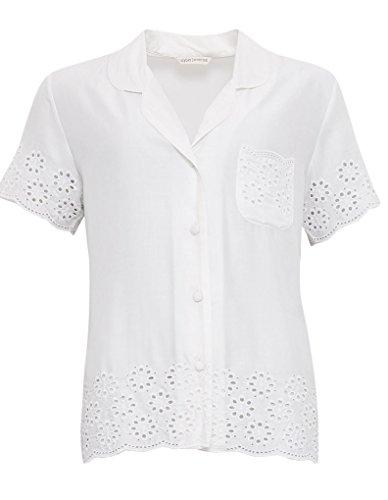 Cyberjammies 3330 Women's White AOE Range White Modal Pajama Sleepwear PJs Pyjama Top