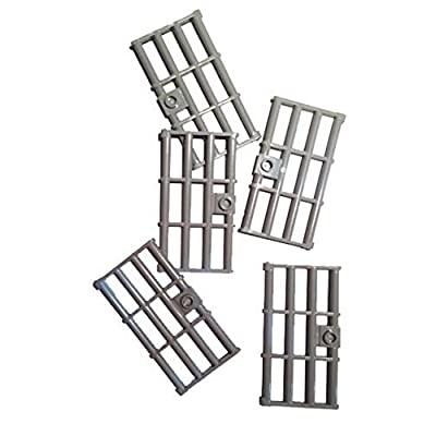 Lego Light Bluish Gray Door 1 x 4 x 6 Barred with Stud Handle, 5 Count: Toys & Games