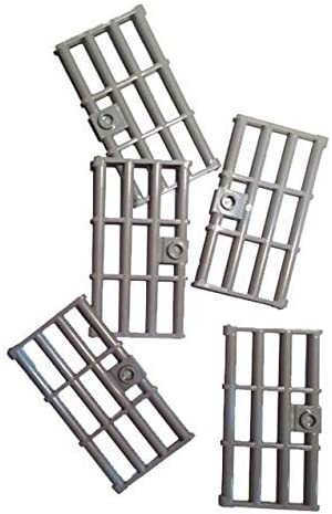 Lego Light Bluish Gray Door 1 x 4 x 6 Barred with Stud Handle, 5 Count