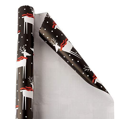JAM PAPER Gift Wrap - Christmas Wrapping Paper - 20 Sq Ft - Nighttime Reindeer - Roll Sold Individually