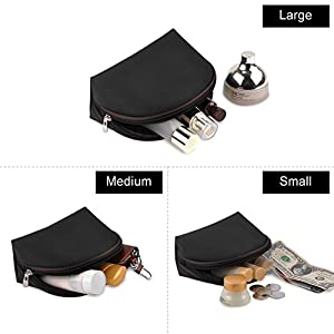Cosmetic Bag Set of 3,ZYSUN Shell Handy Makeup Bag Pouch Travel Accessories Organizer Storage Bag(Black)