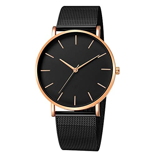 Dressin Mens Women Watch Fashoin Chronograph Quartz Watches with Analog Dial Case Calfskin Leather and Cloth Band Business ()
