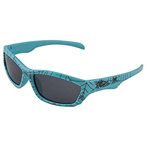 Kids Flexible Rubber Sunglasses for Boys and Girls - Light Blue Spider Web Pattern Wayfarer Frame - Bendable and Unbreakable with 100% UV Protection and Polarized Lenses - By Optix 55