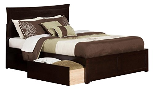 Metro Bed with Flat Panel Foot Board and 2 Urban Bed Drawers, Queen, Espresso