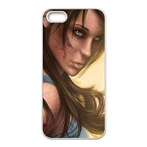 V6E83 tomb raider arte lara croft juego funda iPhone K9G7SM 5 5s funda caja del teléfono celular cubren WV3EYB2LM blanco