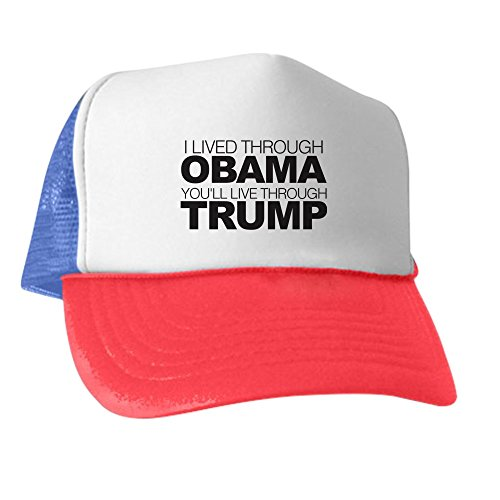 CafePress Live Through Trump - Trucker Hat, Classic Baseball Hat, Unique Trucker Cap - Anti Obama Cap
